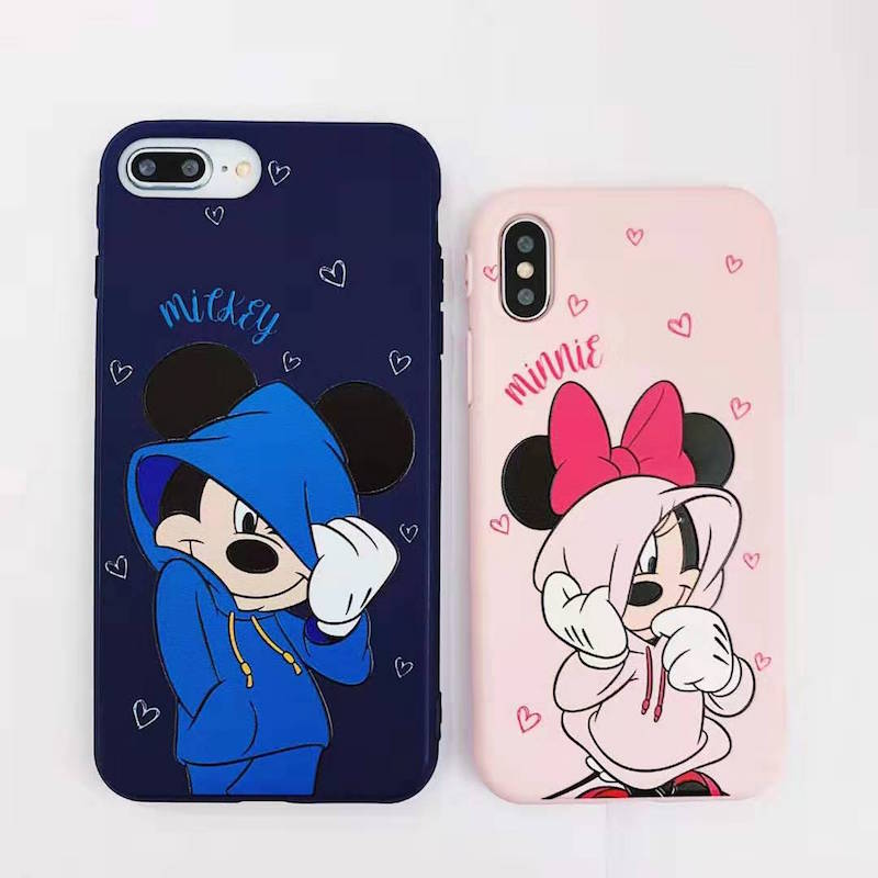 Cartoon trend <font><b>Mickey</b></font> Mini mobile case for <font><b>iPhone</b></font> 11p 7 6 8plus pink love couple mobile case for iPhoneX XS MAX phone case <font><b>coque</b></font> image
