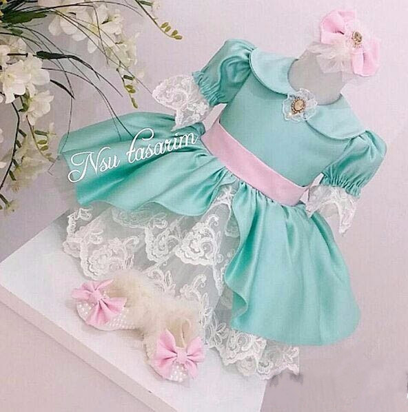 Vintage Blue White Lace Flower Girl Dresses with Pink Bow Short Sleeves Baby Girls First Birthday Party Dress Special Occasion vintage garden flower rose white top aqua blue goldenrod baby girls skirt 3 12m mapsa0753