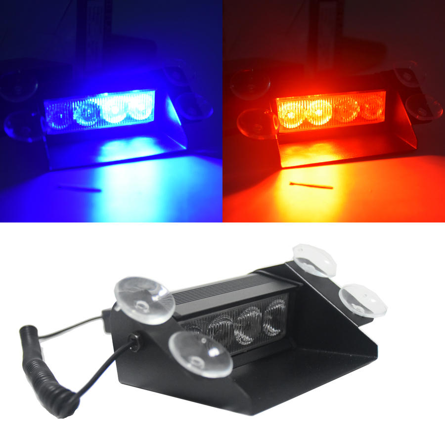 New Car Styling 4 LED Red Blue Yellow Blue Car Police Strobe Flash Light Dash Emergency 3 Flashing Fog Lights 3 style police style car 12v 12 led red blue stroboscopic light with 3 mode controller
