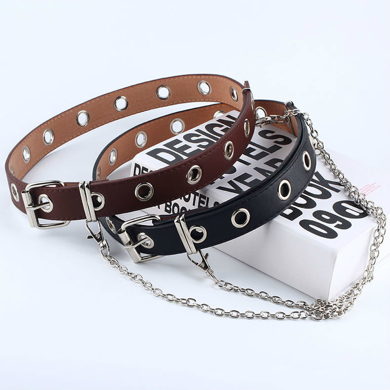 New Fashion Women Punk Chain   Belt   Adjustable Black Double/Single Eyelet Grommet Leather Buckle   Belt