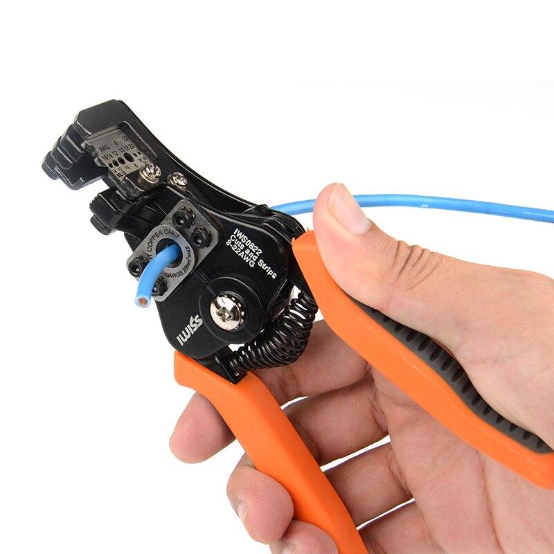 Strippen Bereich 0,35-8.2mm2 Iwiss Manuelle Strippen Zange Multi Funktion Elektriker Draht Stossen Zangen Handwerkzeuge Zangen