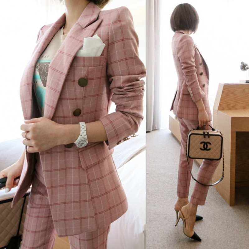 New Female High quality business attire Blazers Suit Plaid Women Pants Suits 2 Two Piece Sets Long Slim Jacket & Pants