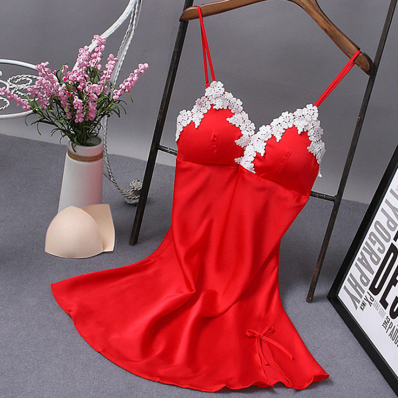 5 Colors For Women Ladies Nightdress V-Neck Floral Sleepwear Lingerie Sexy Solid Babydoll Nightgown Mini Sleeveless Sleepwear