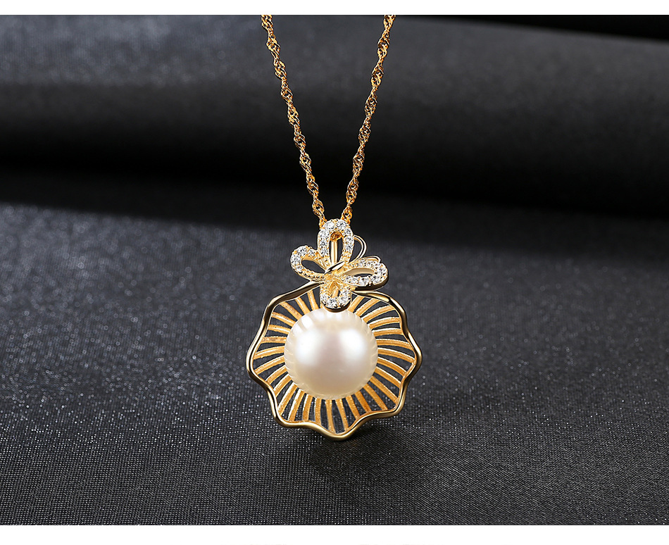 S925 sterling silver clavicle necklace natural freshwater pearl pendant female jewelry GBT07
