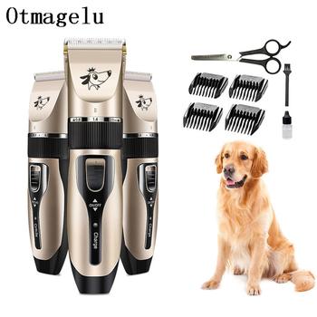 Elektryczne trymery do włosów dla psów profesjonalne pies DIY narzędzia do pielęgnacji psów akumulator kot golarki maszynka do włosów sierść psa cut Clipper Set tanie i dobre opinie Otmagelu CN (pochodzenie) Pies włosów trymer T-177 4 godzin 220-240 v Dog Hair Trimmers Clippers Rechargeable 100V - 240V 50 60Hz