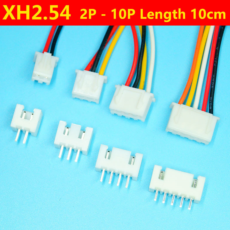 10 Sets <font><b>XH</b></font> <font><b>2.54mm</b></font> Plug Cable 10cm 2/3/4/5/6/7/8/9/10 Pin Wire 26AWG Whit Straight Pin Header Connectors image