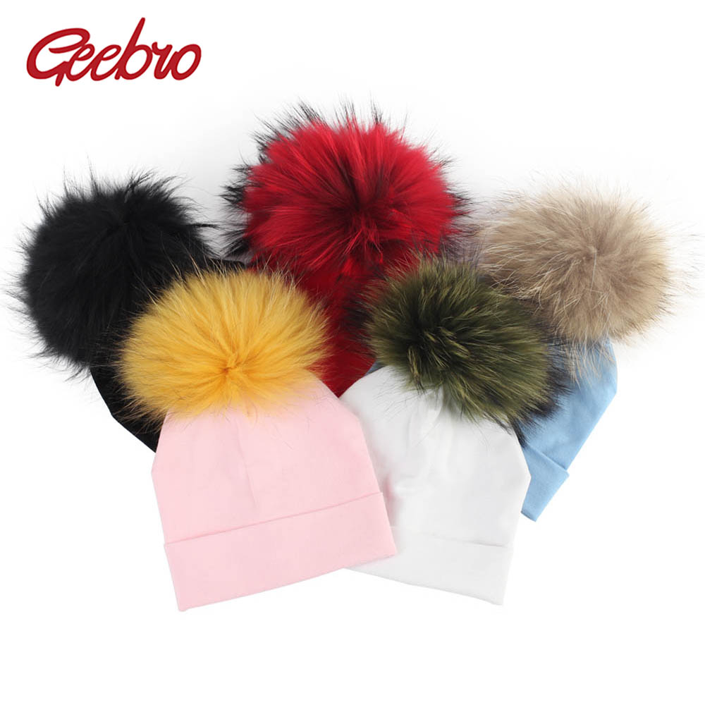 Geebro Newborn Baby Cotton   Beanies   Hats With Real Fur Pompom For Girls Boys Kids Soft Warm Plain Cotton   Skullies     Beanies   Hat