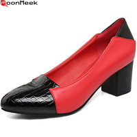 MoonMeek Black Red White Fashion New Arrival Women Pumps Round Toe Ladies Shoes Square Heel PU