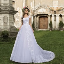 Vintage A-line Wedding Dresses 2017 Short Sleeves Slit Front Bridal Gown with Train Vestido Novias Engagement Bride Dress WD-28