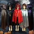Children Cosplay New Hooded Cloak Gothic Wicca Robe Medieval Witchcraft Larp Cape Black Red Purple  Brown  Grey S-L