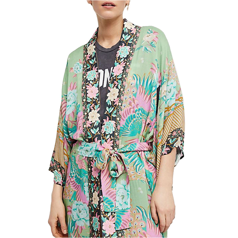 Rebeca Batwing Floral De Diseño Las Manga Impresión Largo Blusas Mujeres Beach Maxi As 2018 La Kimono Blusa Show Verde HqPpw0