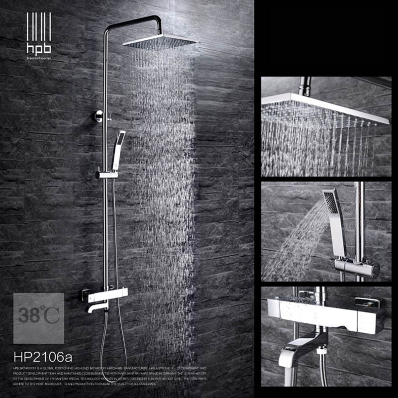 HPB Brass Thermostatic Bathroom Cold Hot Water Faucet Bathtub Mixer Bath Shower Set torneira banheiro Shower Head HP2105