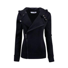 Women's Jacket Plain Zipper Hooded Long Sleeve Cotton Slim Top 2018 Modern Fashion Casual Female Girls Women's Jacket new girl