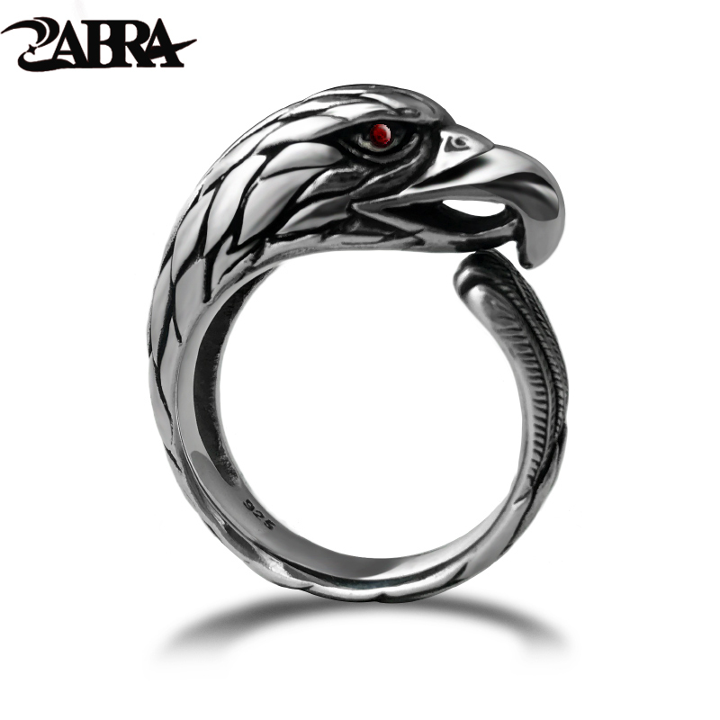 ZABRA Solid 925 Silver Vintage Black Ring Men Adjustable Punk Rock Biker Mens Rings Zirconia Stone