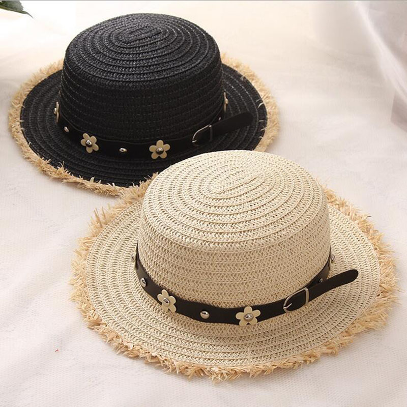 b1190f8065098 Korea Flat Top Straw Boater Hats for Summer Women Men Wide Brim Beach Sun  Hats with Tassels 2017 Unique Design Straw Hats