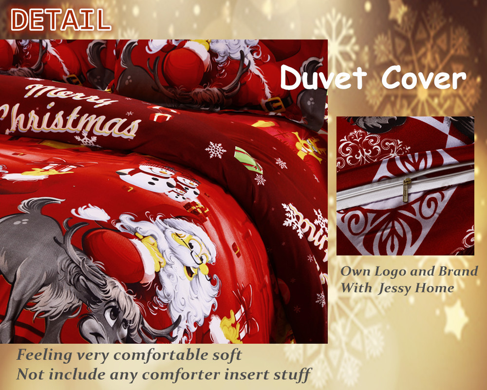 Great For Christmas, Set 4Pcs Christmas Santa Clause, 3D Bedding Set Duvet Cover Set,Sheet, Pillowcase, Sham Covers 2