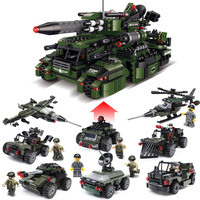 8in1 Military Series Tank Chariot Helicopter Building Block Sets Models Compatible Legoings Weapon Armed Figures Toys Gifts
