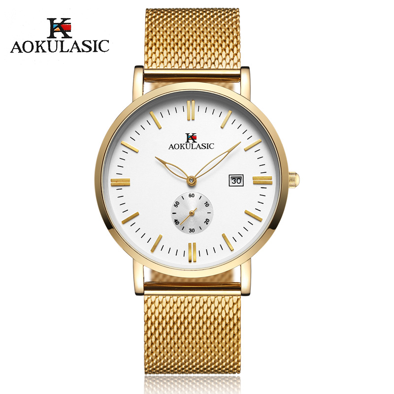 Top Luxury Brand Aokulasic Quartz watch men Gold Casual Japan quartz-watch stainless steel Mesh strap ultra thin clock male luxury brand watches men quartz clock wach ultra thin stainless steel mesh strap gold wristwatch box waterproof sport watch men