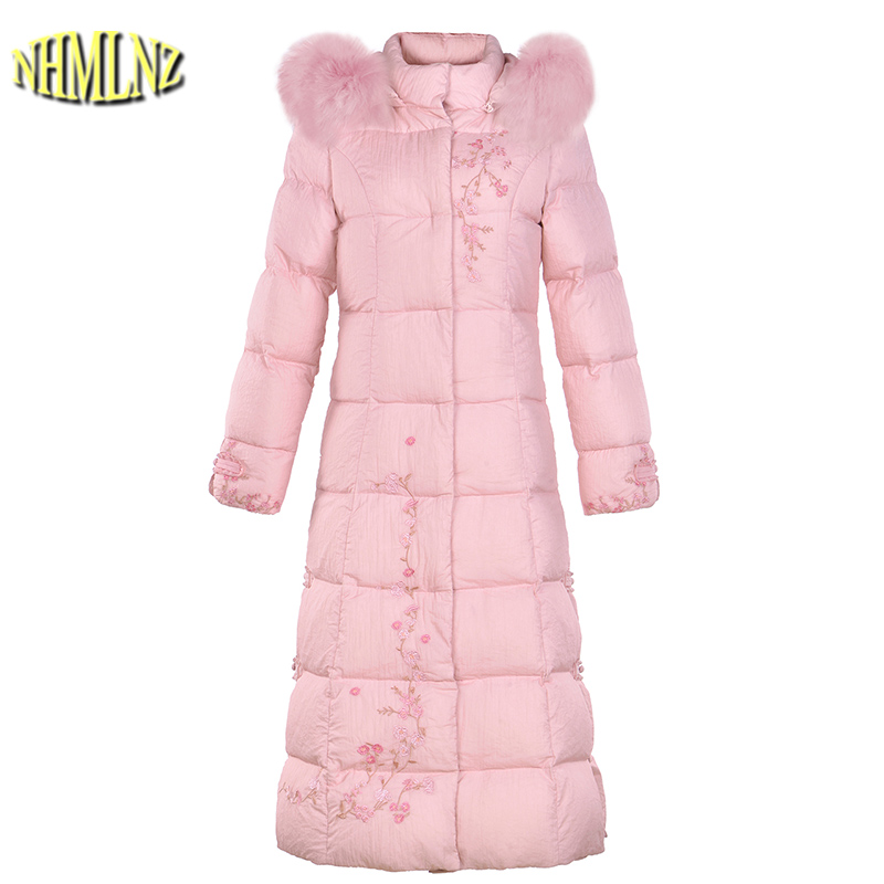 Women's   Down   jacket New Large size High quality Warm Hooded White duck   down   Folk-custom Fashion Printing Women's   Down     Coat   LH368
