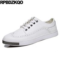 Men Shoes Casual Leather White Lace Up Comfort Platform Trainers Wingtip Skate Round Toe Sneakers Spring