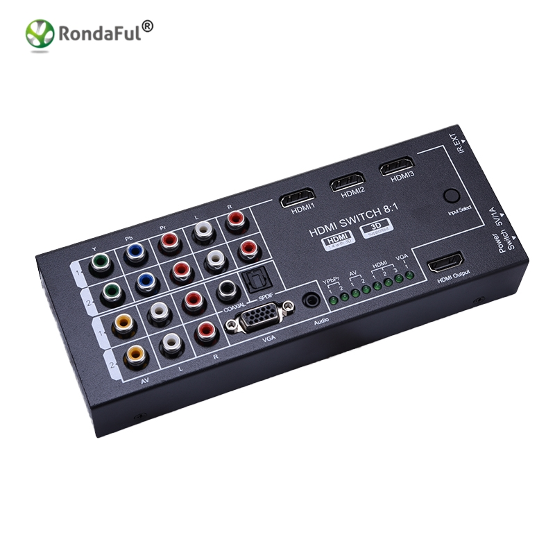 Multi Functional HDMI Audio Extractor With 8 Inputs To 1 HDMI Output With Optical Coaxial 5.1 Channel Support 3D Surround Sound
