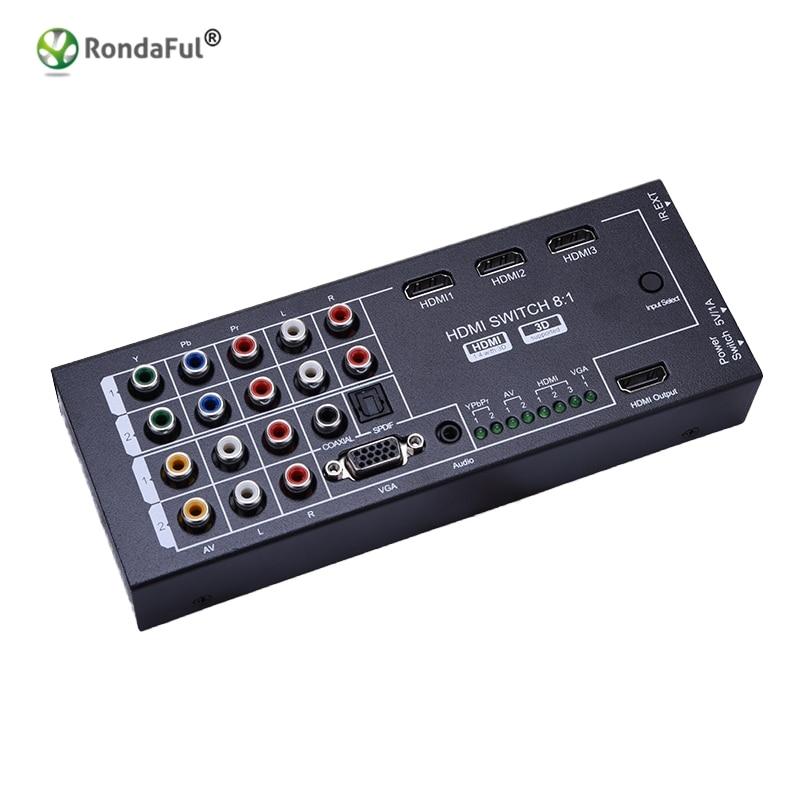 Multi Functionele HDMI Audio Extractor Met 8 Ingangen 1 HDMI Output Met Optische Coaxiale 5.1 Kanaals Ondersteuning 3D surround Sound-in HDMI Kabels van Consumentenelektronica op AliExpress - 11.11_Dubbel 11Vrijgezellendag 1