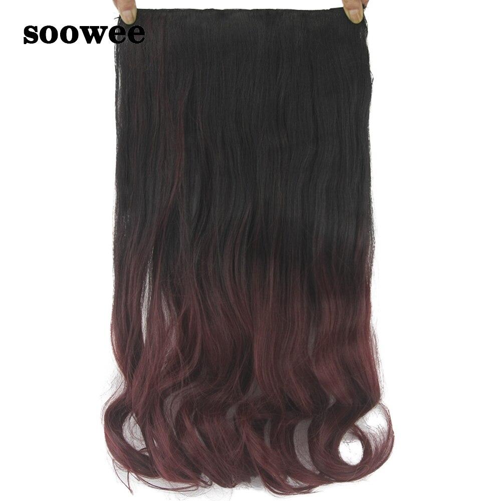 Soowee 60cm Long Curly Black Burgundy Blonde Hair Synthetic Ombre
