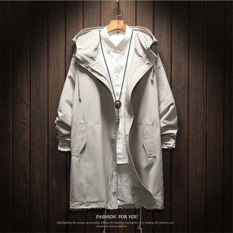 Male Stylish Long Trench Fashion Coat Jacket Polyester Black Trench Coats Mens Spring Jackets and Coats Jackets for men Big Size