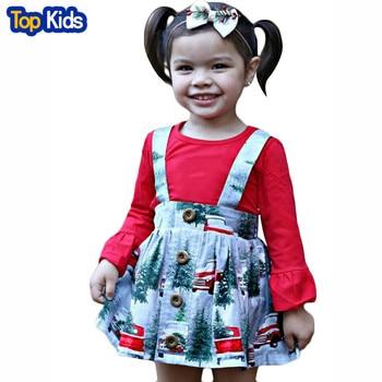 2pcs Cartoon Snow Car Christmas Lovely Princess Kids Dresses Red long sleeve for Girls Dress Toddler Girls Clothing Sets MB468 1