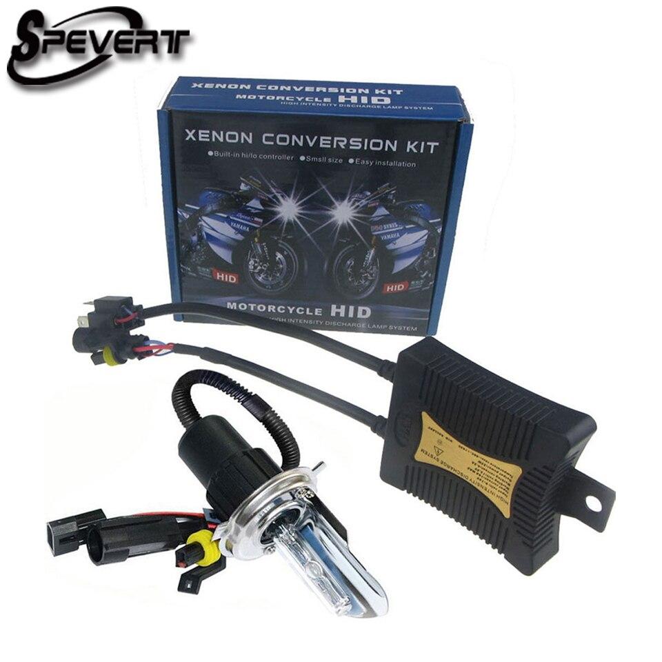 SPEVERT 55W Xenon HID Conversion Kit Motorcycle Motorbike Headlight H4 Hi/Lo Bulb Lamp