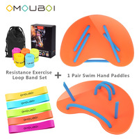 OMOUBOI Orange Plastic Water Stroke Training Hand Paddle Fins Gym Fitness Exercise Device Swim Flippers W/Resistance Bands Set