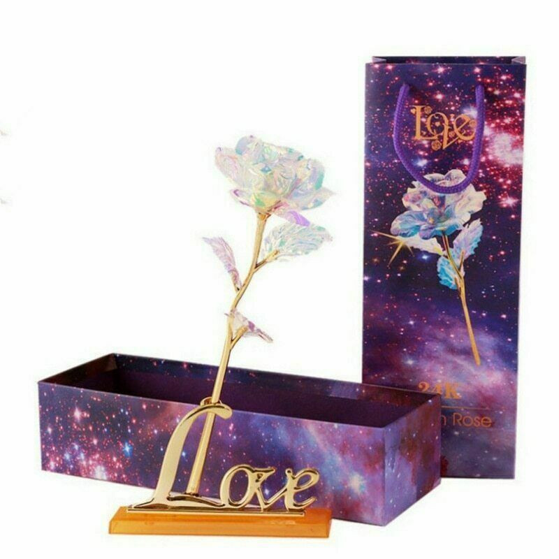24K Gold Plated Galaxy Rose Valentine's Day Gift to Girlfriend Wife Love Present Party Decor