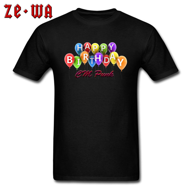 T Shirt CM Punk Lover Men Birthday Gift Tshirt 3D Happy Balloons Print Clothes Adult Black Tees Cotton Tops