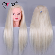 22 Fiber Hair mannequin head for hairstyles Blonde hairdressing training hair mannequins sale New doll