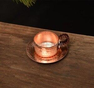 Image 5 - Feic puro cobre artesanal café chá conjunto turco grego árabe cafeteira com alça de madeira cafeteira ibrik para barista