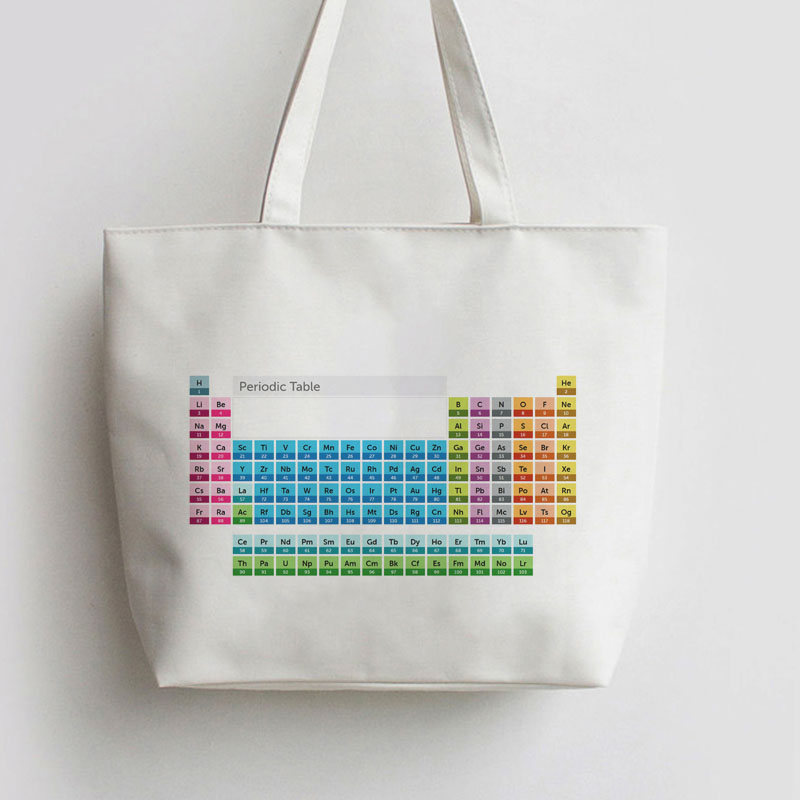 Chemical Element Periodic Table Canvas Tote Bag Cartoon Shopping Bags AN133 AN392