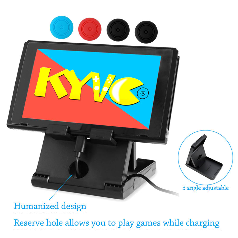 Nintend Switch Adjustable Foldable Compact Bracket Playstand Stand Holder for Nintendo Switch NS Console Controller & 4 Cap