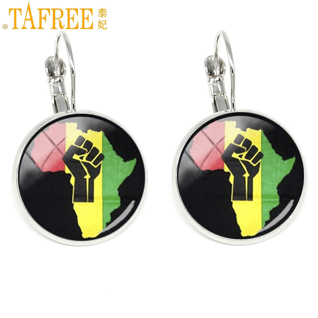 TAFREE Fist On South Africa Map Earrings powerful African people