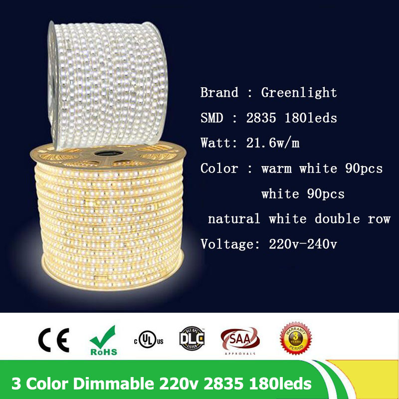 20m / lote 2835 SMD Fila doble 180leds / m 220V - 240V Regulable - Iluminación LED - foto 6