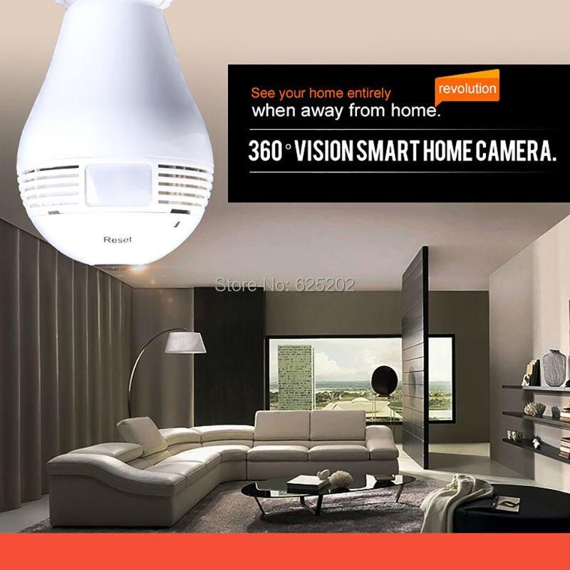 imágenes para Pequeña Bombilla Cámara Panorámica Cámara IP Wifi de La Cámara 960 P 1.3MP Lente Ojo de Pez Envío libre