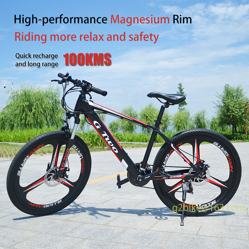 G Two 2018 new 26inch 21Speed Magnesium Wheel Powerful Electric MTB Lithium Battery 250W 36V 10.5ah eBike with invisible batter