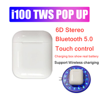 New i100 tws pop up +touch control + show real battery wireless bluetooth earphone pk i50 i60 i80 i90 i100 for iphone X Android