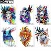 "HOMFUN Full Square/Round Drill 5D DIY Diamond Painting ""animal colorful paintings"" 3D Embroidery Cross Stitch 5D Home Decor"