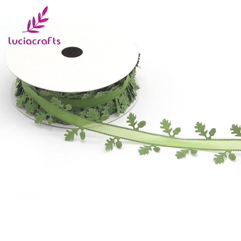 Lucia el sanatları 1 rulo/lot 40mm yaprakları asma çelenk kurdeleler dikmek kumaş dantel Trim şerit DIY el yapımı malzemeleri Q0606