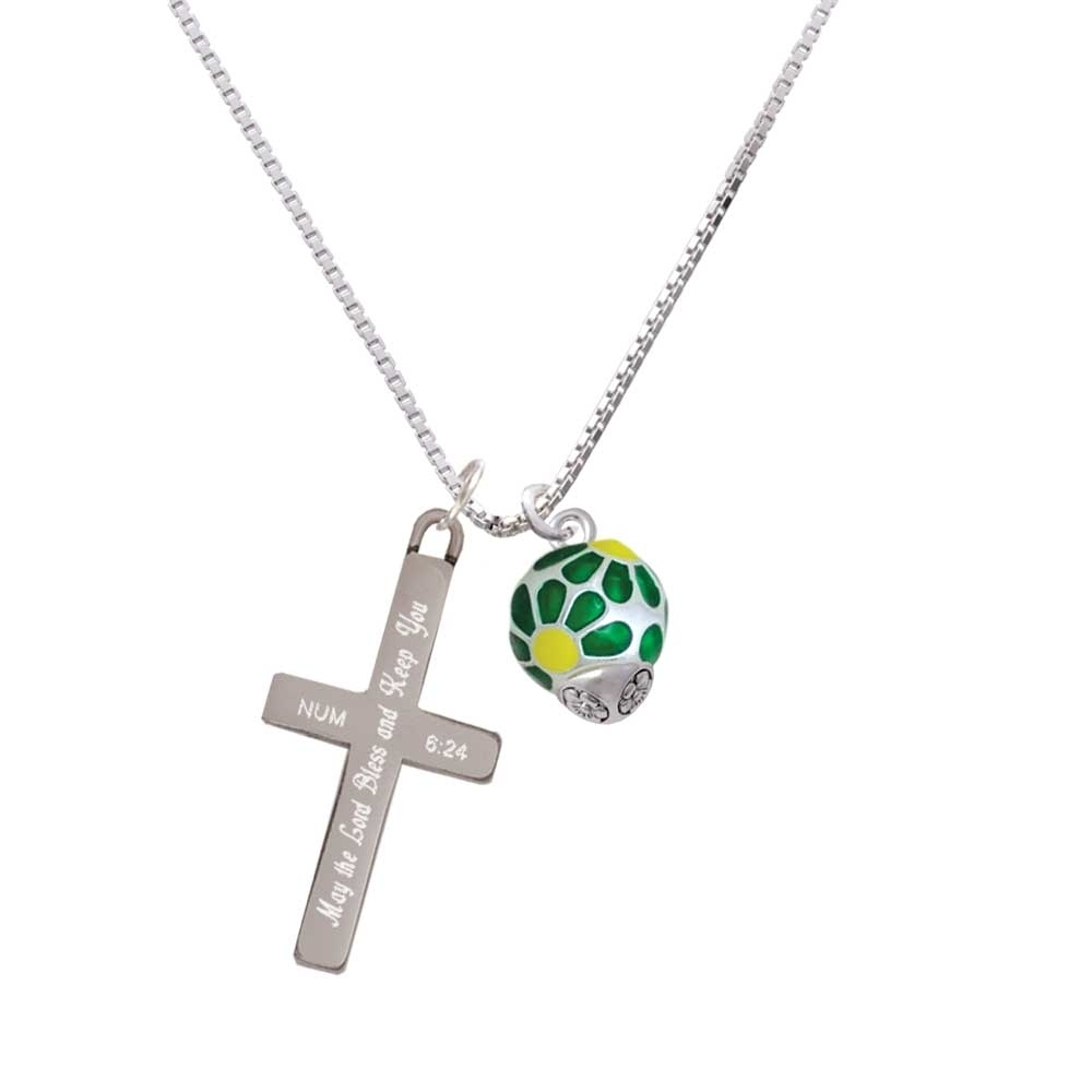 купить Translucent Green Flower Petal Pattern Spinner - Bless and Keep You - Cross Necklace по цене 3496 рублей
