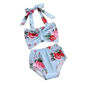 2Pcs Baby Swimwear Kid Swimsuit Floral Print Bow Tie Infant Kids Baby Girls Swimwear Straps Swimsuit Купальник