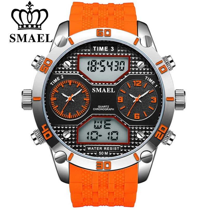 SMAEL los hombres reloj deportivo de gran Dial analógico de cuarzo y LED  Digital de tiempo múltiples zona relojes hombres reloj de pulsera militar  reloj ... 845185e4ffc4