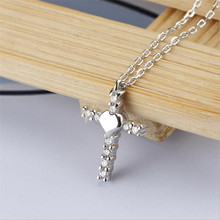 Everoyal Trendy Zircon Cross Pendant Necklace For Women Jewelry Vintage 925 Sterling Silver Clavicle Necklace Girls Accessories everoyal trendy silver 925 sterling necklace for girls accessories fashion zircon round pendant necklace for women jewelry gift