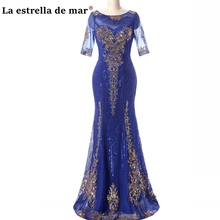 Vestidos de madrina new lace sequin half sleeve royal blue gold dinner gown long mother