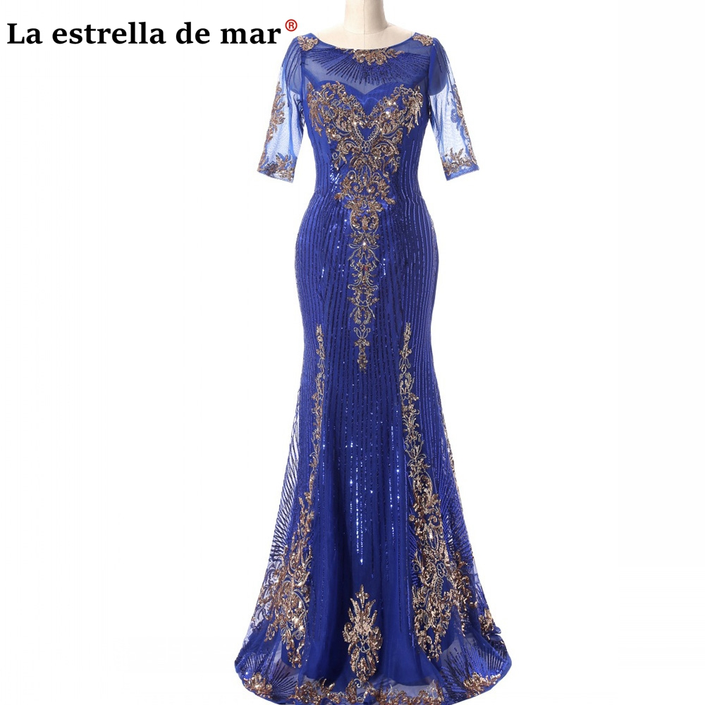 Vestidos De Madrina New Lace Sequin Half Sleeve Royal Blue Gold Dinner Gown Long Mother Of The Bride Dress Abiti Mamma Della Spo